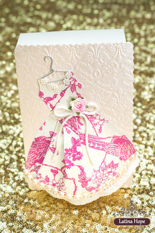 Embossed Paper Gift Box With Vintage Dress - FREE SHIPPING!