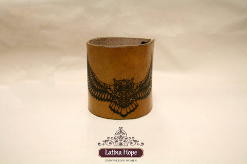 Yeti Cover - Flying Owl Print - Leather Mug Wrap