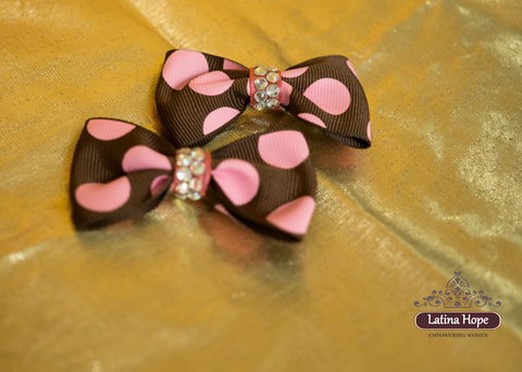 Brown & Pink Polka Dot Small Bows - FREE SHIPPING!