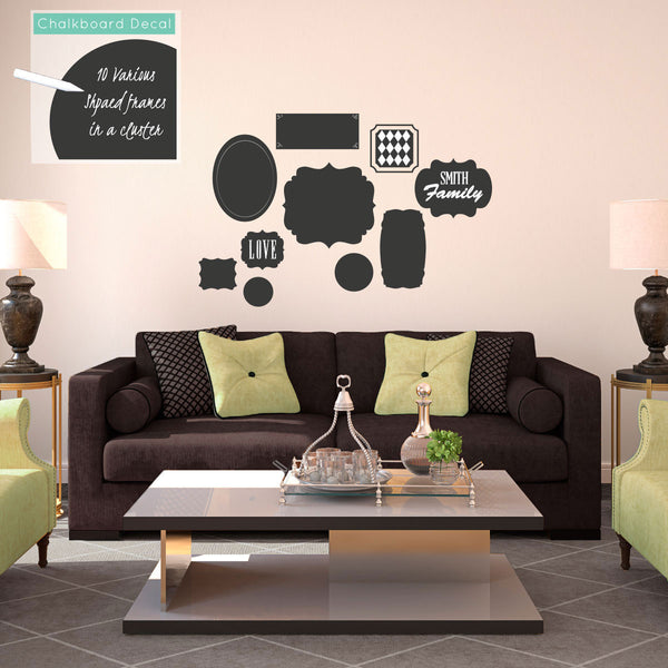 Chalkboard Cluster of Frames in Various Shapes - Dana Decals