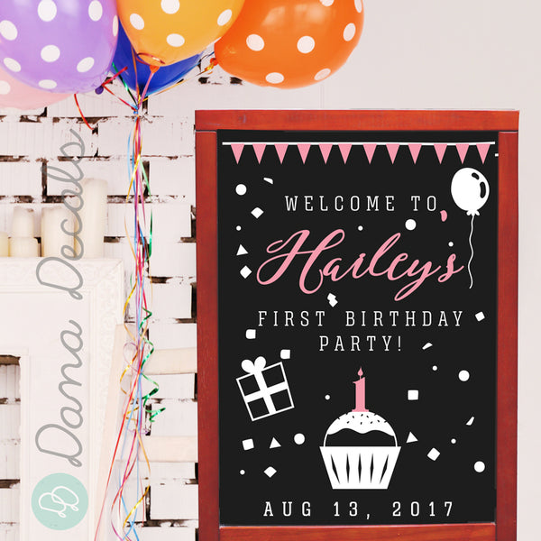 Birthday Party Personalized Welcome Sign - Dana Decals