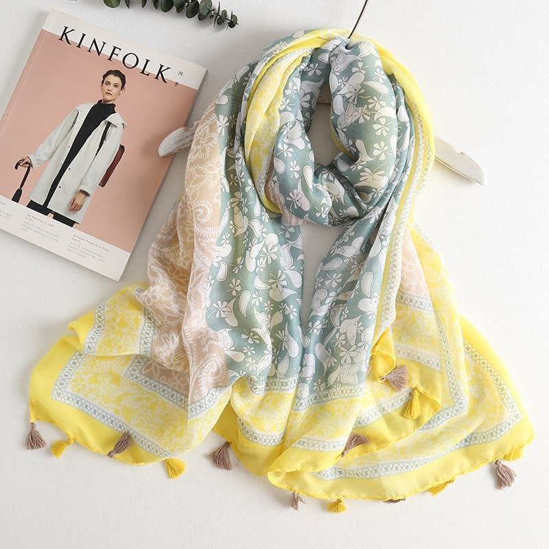 Pure Bliss Scarf - Yellow | Designer Tassel Hijab