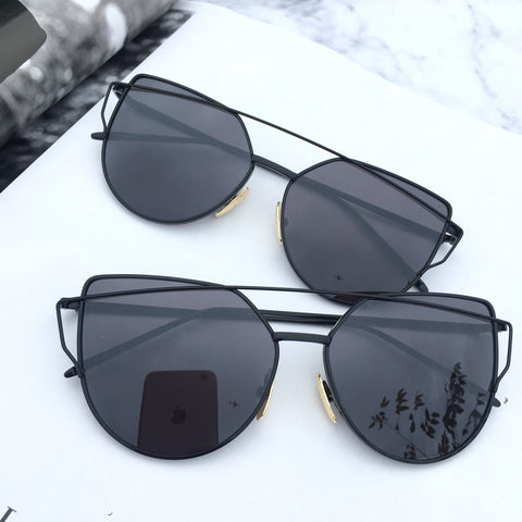 Black On Black Mirrored Sunglasses