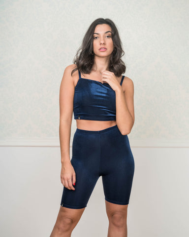 Blue Velvet Bicycle Shorts