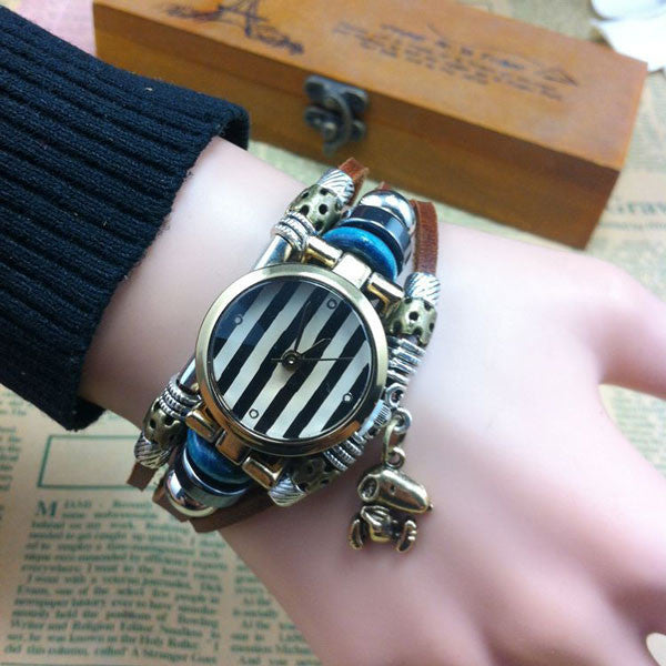 Retro Striped Animal Charm Leather Bracelet Watch - lilyby