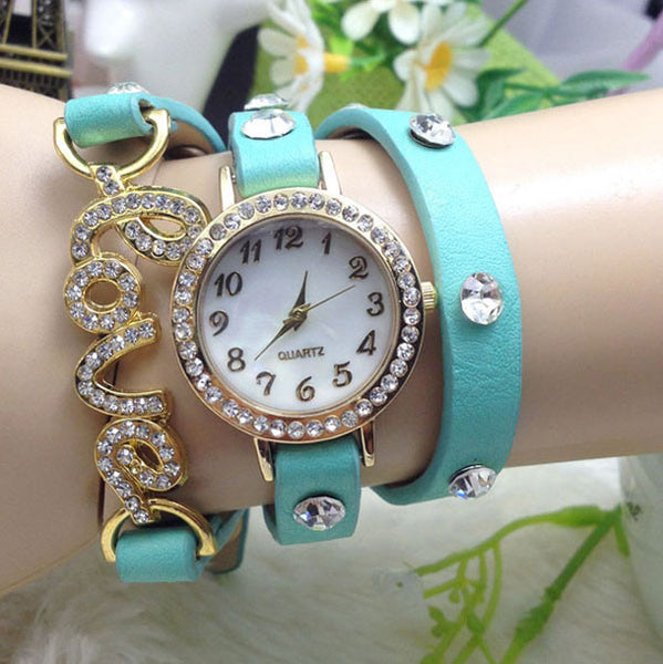 Shining Rhinestone Love Intertwine Bracelet Watch
