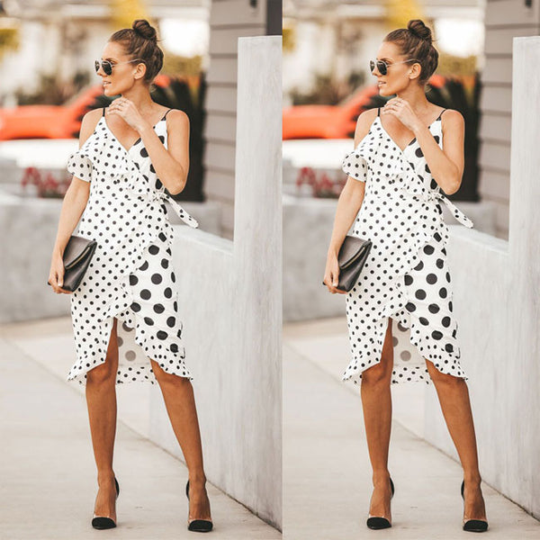 Leisure Irregular Big Small Wave Point Sling Dot Women Dress
