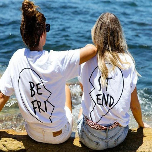 Best Friend Letters Printed Cotton T-shirt For Women - lilyby