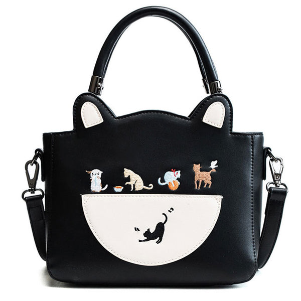Lovely Cartoon Cat Kitten Handbag PU Shoulder Bag