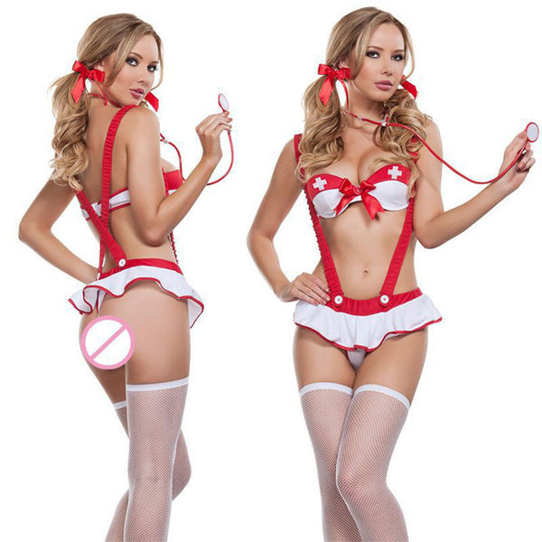 Sexy Bow Sling Women Nurse Cosplay Intimate Lingerie