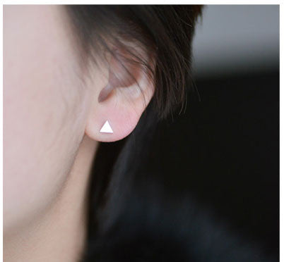 New Pretty Simple Triangular Silver Earrings Studs - lilyby
