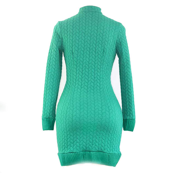 Sexy Sleeves Mock Neck Package Hip Skirt Cable-Knit Short Sweater Women's Long Dress