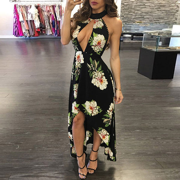 New Breasts Skirt Bohemian Flower Backless Dress Short Front Women's Long Dress