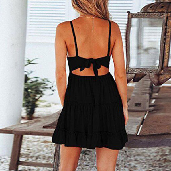 Fresh Hook Flower Fold Stitching Backless Sling Lady Summer Dress