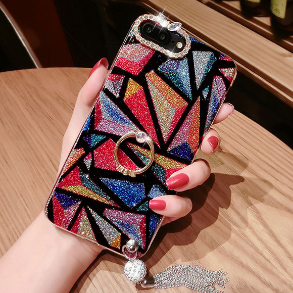 Fashion Shining Luxurious Diamond-bordered Colorful Tassels Iphone 7/7 plus/8/8 plus Case