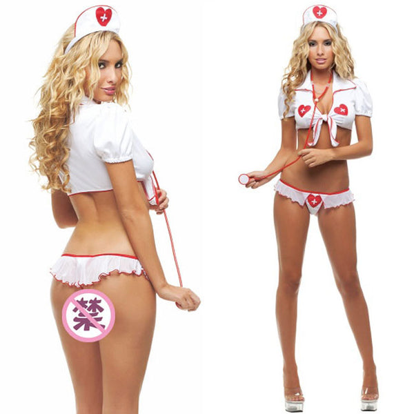 Sexy Uniform Temptation Cosplay White Nurse Women Lingerie