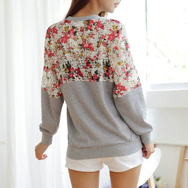 Pretty Lace Flower Loose Sleeved Sweater&Shirt - lilyby