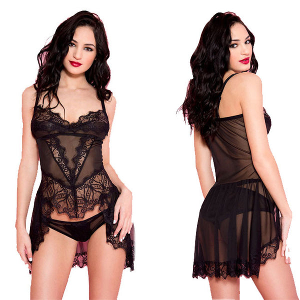 Sexy Strap Nightdress Perspective Pajamas Black Lace Women Intimate Lingerie