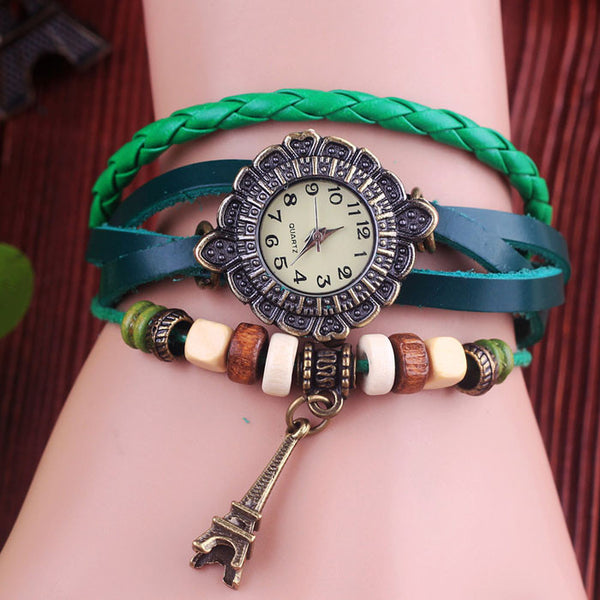 Retro Eiffel Tower Leather Bracelet Watches - lilyby