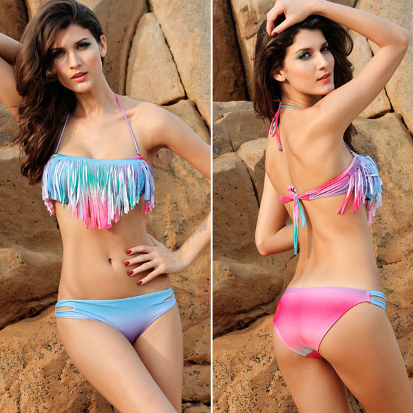 Hot Sexy Colorful Gradient Fringed Bikinis - lilyby