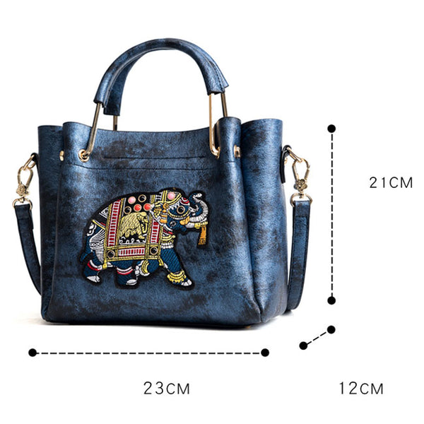Cute Bucket Bag Elephant Embroidery Handbag Cartoon Shoulder Bag