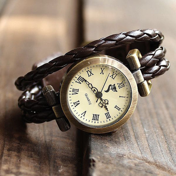 New  thin strips of leather  wrap strap retro watch - lilyby