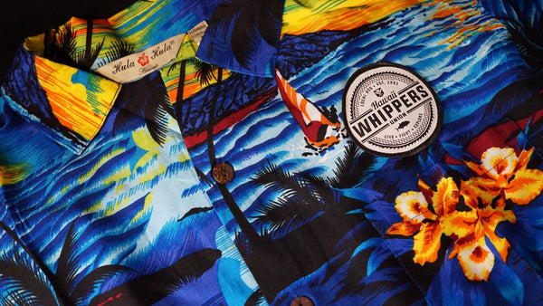Whippers Sunset Blue Aloha Shirts.