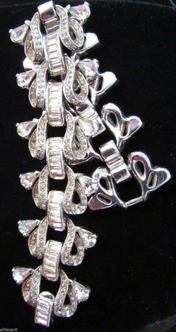 "Art Deco Clear Paste Rhinestone 2"" Bracelet Sparkling Rhodium Wedding High End"