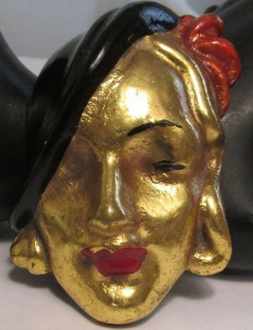 1930's Woman Face Figural Brooch Pin Enamel Accents OLD HOLLYWOOD GLAM