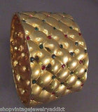 "Vintage Bracelet Multi Rhinestone 2"" WIDE Clamper 1950's Great High End Design"
