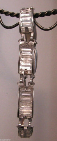 Art Deco Ribbed Glass Bracelet Unique 1920's Clear Rhinestone Vintage