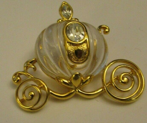 Vintage DIsney Cinderella Carriage Lucite Brooch Pin Figural