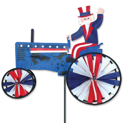 22 in. Uncle Sam On A Tractor Spinner