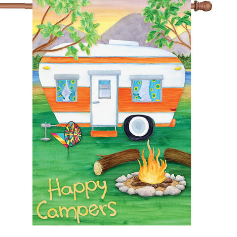 28 in. Camping House Flag - Happy Campers