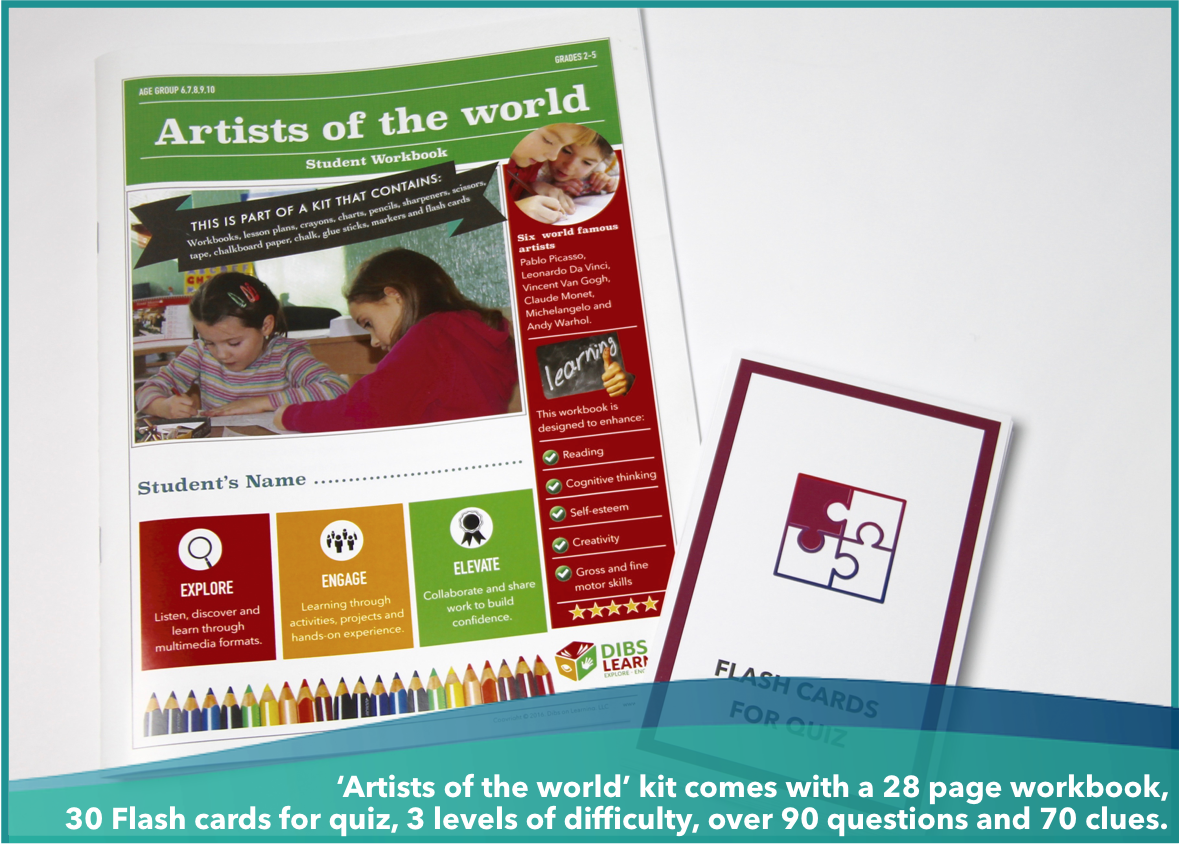 Artists of the world - workbook and flashcards kit (free shipping within USA)