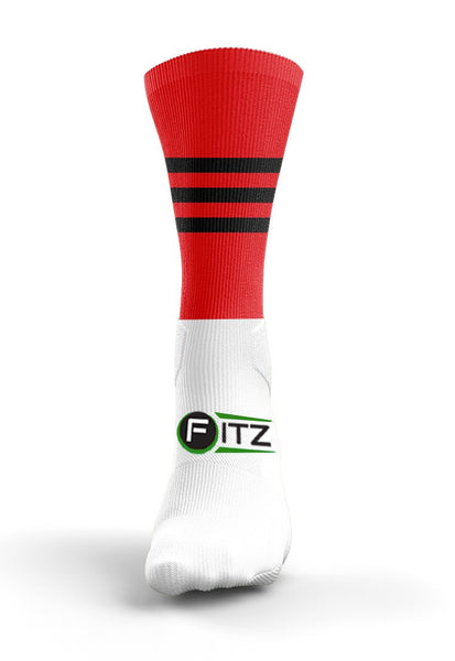 Fitz Red Black Mid Socks - Fitz Hurleys