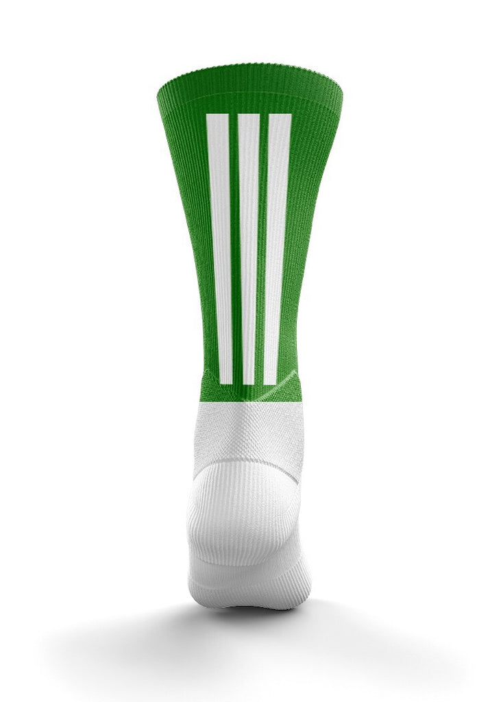 Fitz Green and White  Back Stripe Mid Socks - Fitz Hurleys