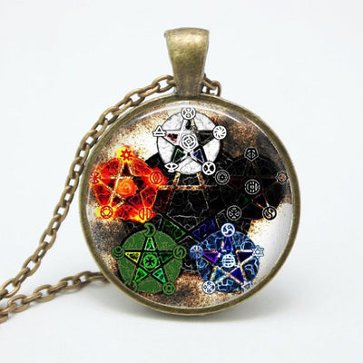 Necklace - Pentacle Wiccan Pendant Talisman - Unique Glass & Bronze Necklace