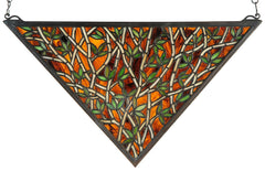 38472 Bamboo Triangle Stained Glass Window by Meyda Lighting | 21.5x12""