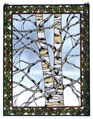 73265 Birch Tree in Winter Stained Glass Window by Meyda Lighting | 28x36""