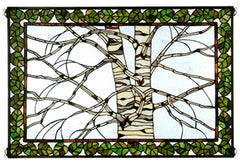 38538 Birch Tree in Winter Stained Glass Window by Meyda Lighting | 36x24""