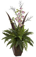1365 Boston Fern & Orchid Silk Arrangement by Nearly Natural | 3 feet