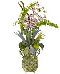 1374 Orchid Bells of Ireland Fern Silk Arrangement by Nearly Natural | 33""