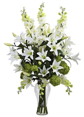 "1335 Lily Delphinium Hydrangea 33"" Faux Flowers in Water by Nearly Natural"