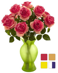 1351 Artificial Roses in Sophia Vase in 7 colors by Nearly Natural | 18""