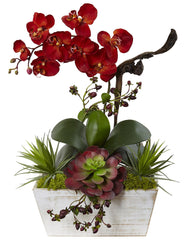 1418-AT Autumn Orchid & Succulent Silk Flowers by Nearly Natural | 21""