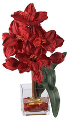 1110-RD Amaryllis Silk Holiday Flower in Water by Nearly Natural | 20 inches