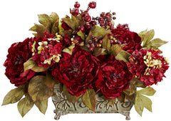 4929 Peony & Hydrangea Silk Arrangement by Nearly Natural | 19 inches