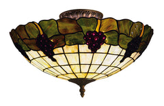 931-VA Grapevine 3-Lite Tiffany-Style Semi Flush Vintage Antique ELK Lighting