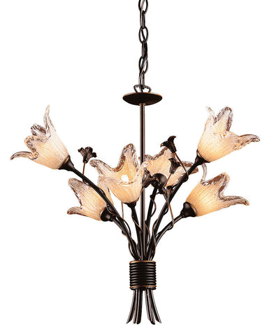 7958/6 Fioritura 6-Light Chandelier Aged Bronze w/Blown Tulips ELK Lighting